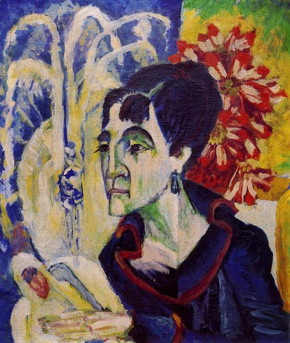 Head of Erna by Ernst Ludwig Kirchner (1880-1938, Germany) | Famous Paintings Reproductions | WahooArt.com
