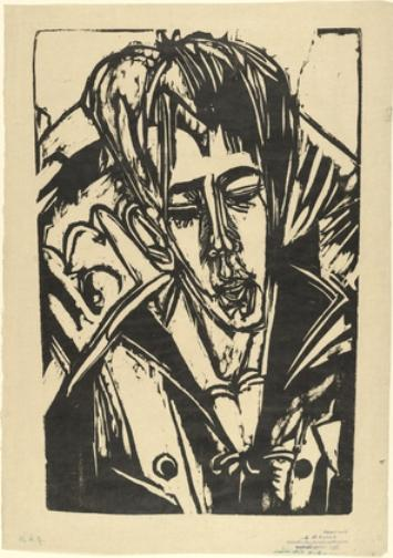 Head of Hardt's Son by Ernst Ludwig Kirchner (1880-1938, Germany)