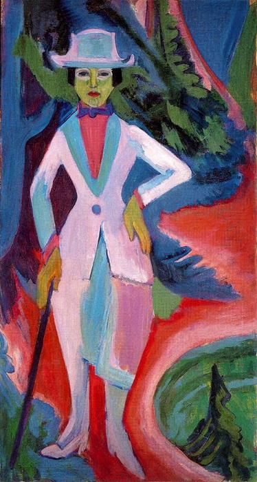 Lady in the woods by Ernst Ludwig Kirchner (1880-1938, Germany) | WahooArt.com