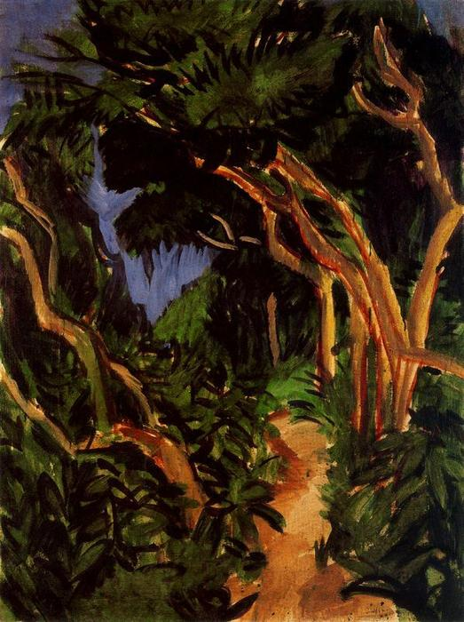 Landscape of Fehmarn, forest trail by Ernst Ludwig Kirchner (1880-1938, Germany) | Painting Copy | WahooArt.com