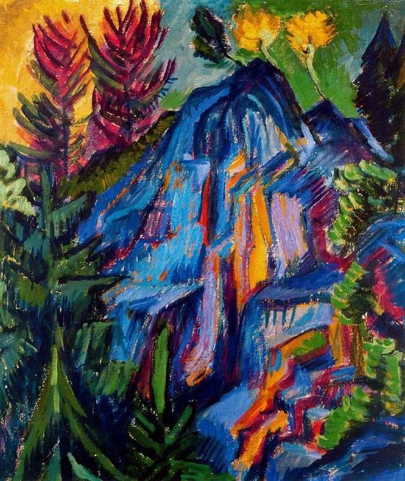 Landscape with blue rocks by Ernst Ludwig Kirchner (1880-1938, Germany)