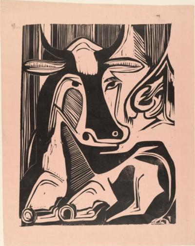 Large Cow Reclining by Ernst Ludwig Kirchner (1880-1938, Germany) | WahooArt.com