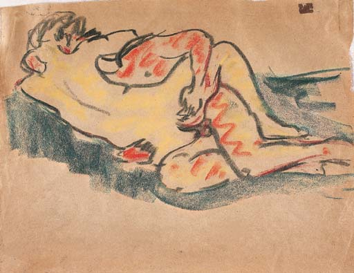 Lovers, 1909 by Ernst Ludwig Kirchner (1880-1938, Germany)