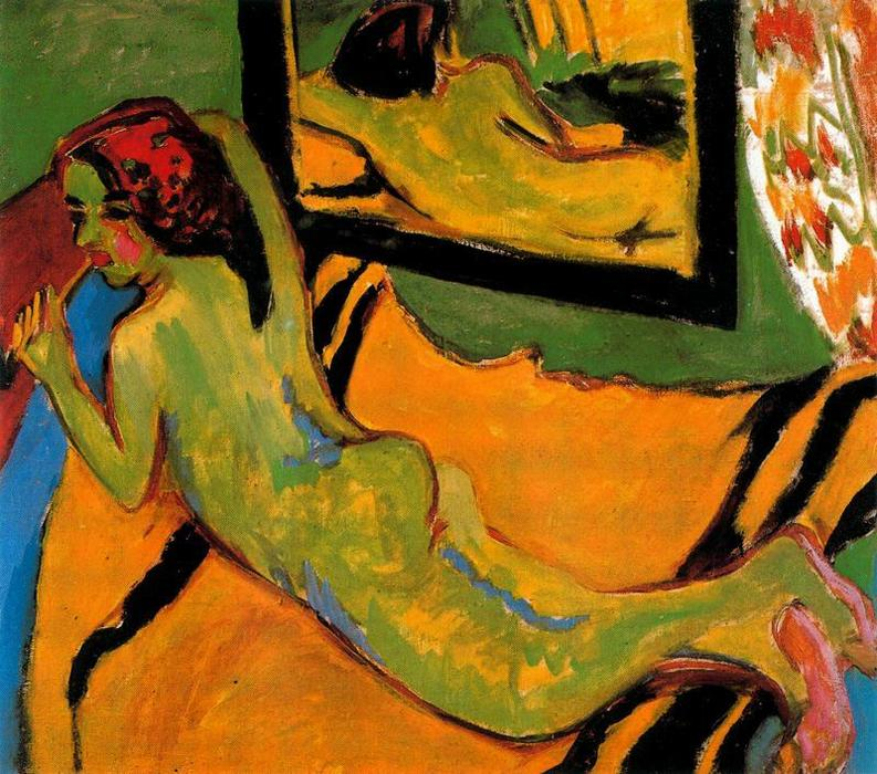 Lying nude in front of the mirror by Ernst Ludwig Kirchner (1880-1938, Germany)