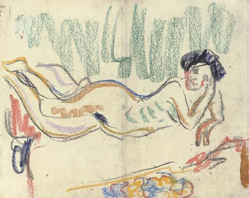 Lying nude by Ernst Ludwig Kirchner (1880-1938, Germany)