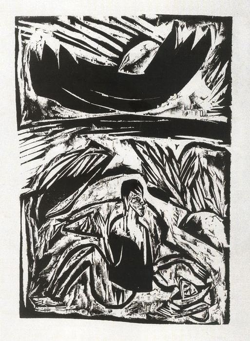 Man and woman on the beach at moonrise by Ernst Ludwig Kirchner (1880-1938, Germany) | WahooArt.com