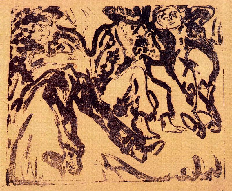 Monarchs in the ditch by Ernst Ludwig Kirchner (1880-1938, Germany)