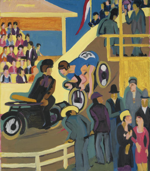 Motor cycle race with preload by Ernst Ludwig Kirchner (1880-1938, Germany) | WahooArt.com