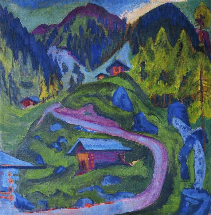 Mountain trail with alpine lanscape by Ernst Ludwig Kirchner (1880-1938, Germany) | WahooArt.com