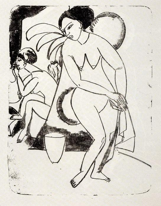 Naked girls in the studio by Ernst Ludwig Kirchner (1880-1938, Germany)