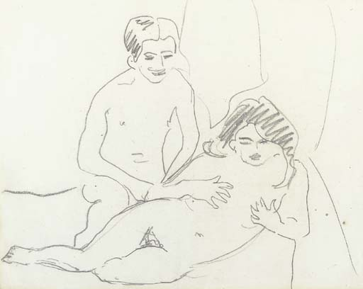 Naked lovers by Ernst Ludwig Kirchner (1880-1938, Germany)
