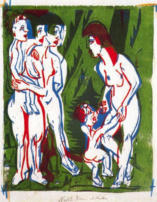 Naked women with children by Ernst Ludwig Kirchner (1880-1938, Germany)