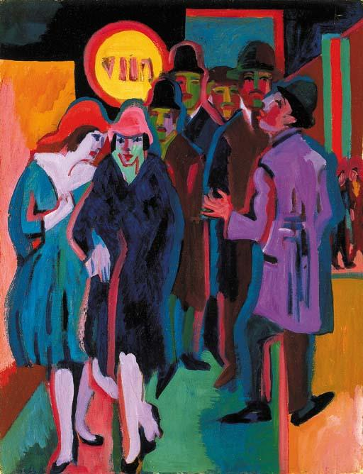 Nocturnal street scene by Ernst Ludwig Kirchner (1880-1938, Germany) | Museum Quality Reproductions | WahooArt.com