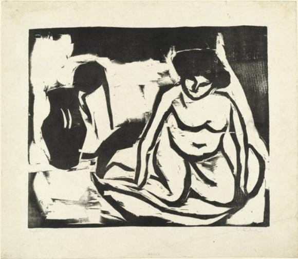 Nude Girl in the Bath (Nacktes Mädchen im Bad) by Ernst Ludwig Kirchner (1880-1938, Germany)