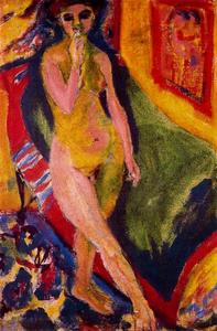 Ernst Ludwig Kirchner - Nude girl with green sofa