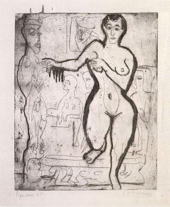 Nude woman by Ernst Ludwig Kirchner (1880-1938, Germany)