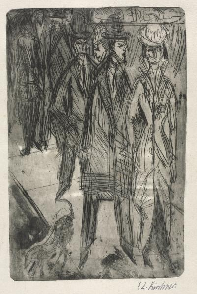 On the Street by Ernst Ludwig Kirchner (1880-1938, Germany) | WahooArt.com