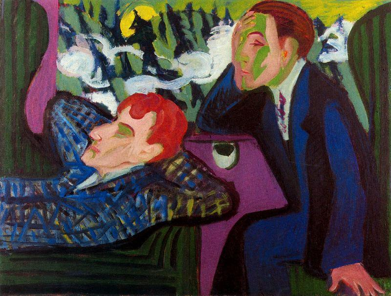 On the train, Albert Müller and Kirchner by Ernst Ludwig Kirchner (1880-1938, Germany)