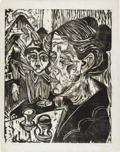 Peasant Woman with Boy at Table, Lithography by Ernst Ludwig Kirchner (1880-1938, Germany)