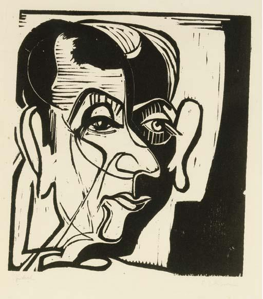 Portrait of Hans Arp by Ernst Ludwig Kirchner (1880-1938, Germany) | WahooArt.com