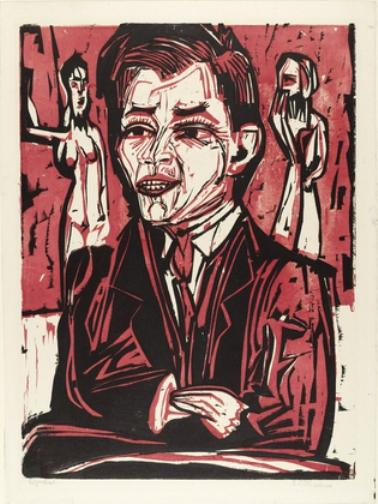 Portrait of Will Grohmann, Large, Oil by Ernst Ludwig Kirchner (1880-1938, Germany)
