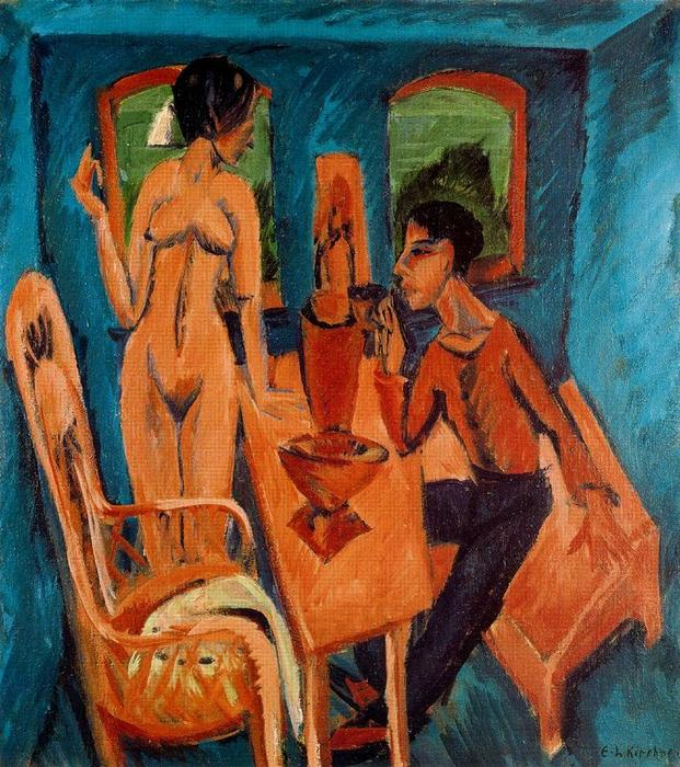 Room in the tower; Portrait with Erna by Ernst Ludwig Kirchner (1880-1938, Germany)