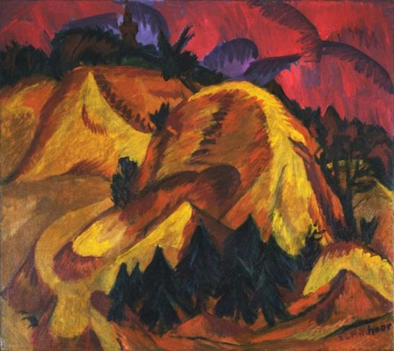 Sand Hills in Engadine by Ernst Ludwig Kirchner (1880-1938, Germany)