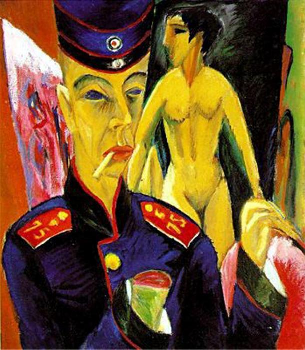 Self-Portrait as a Soldier, Oil On Canvas by Ernst Ludwig Kirchner (1880-1938, Germany)