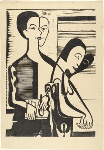 Self-Portrait with Erna by Ernst Ludwig Kirchner (1880-1938, Germany) | WahooArt.com