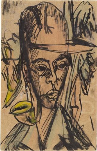 Self-Portrait with Pipe, Lithography by Ernst Ludwig Kirchner (1880-1938, Germany)