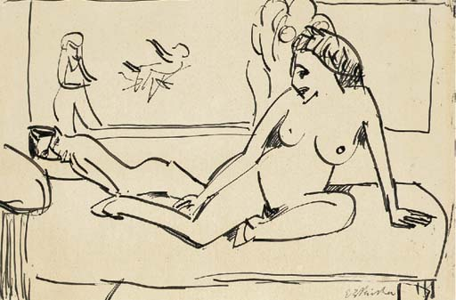 Sitting nude 1 by Ernst Ludwig Kirchner (1880-1938, Germany) | WahooArt.com