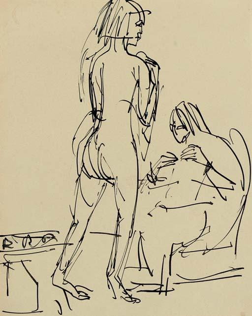 standing and sitting nudes in the studio by Ernst Ludwig Kirchner (1880-1938, Germany)