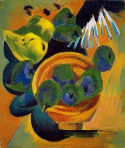 Order Museum Quality Reproductions : Still Life with Cup and quince wood by Ernst Ludwig Kirchner (1880-1938, Germany) | WahooArt.com