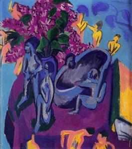 Ernst Ludwig Kirchner - Still life with flowers and plastic figures