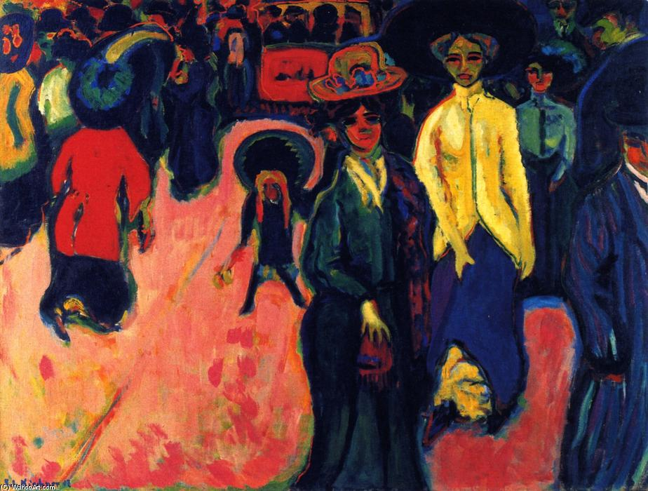 Street, Dresden, Oil On Canvas by Ernst Ludwig Kirchner (1880-1938, Germany)