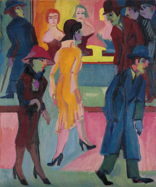 Street scene in front of the barbershop by Ernst Ludwig Kirchner (1880-1938, Germany) | WahooArt.com