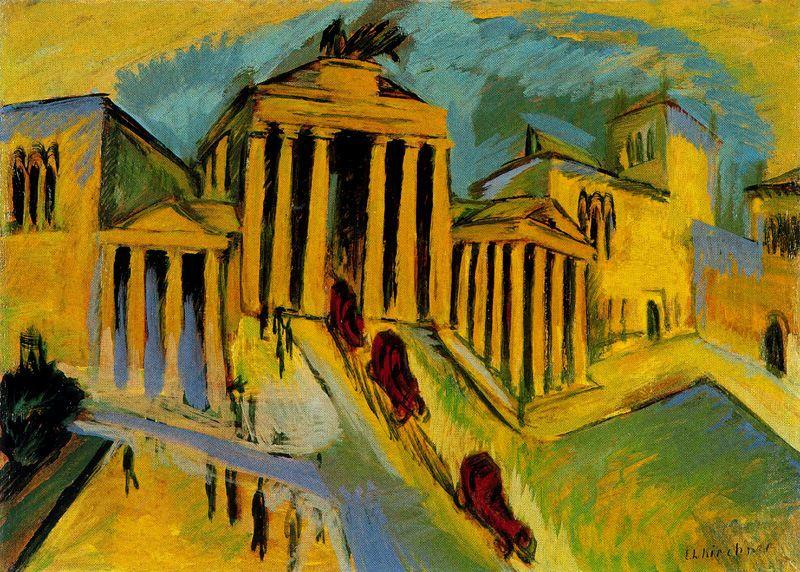 The Brandeburg gate, Berlin by Ernst Ludwig Kirchner (1880-1938, Germany) | WahooArt.com