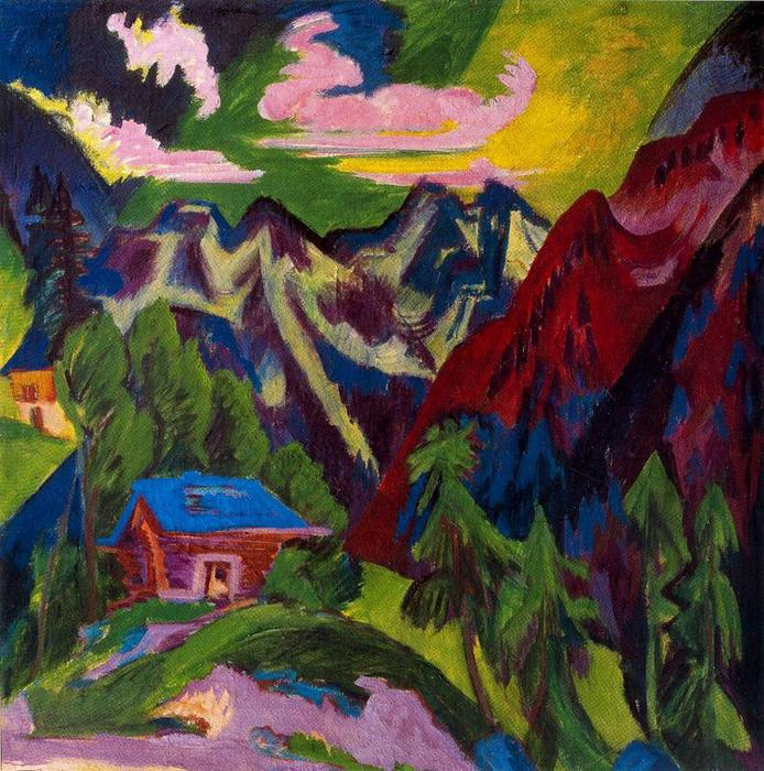 The Klosters mountain, Oil by Ernst Ludwig Kirchner (1880-1938, Germany)