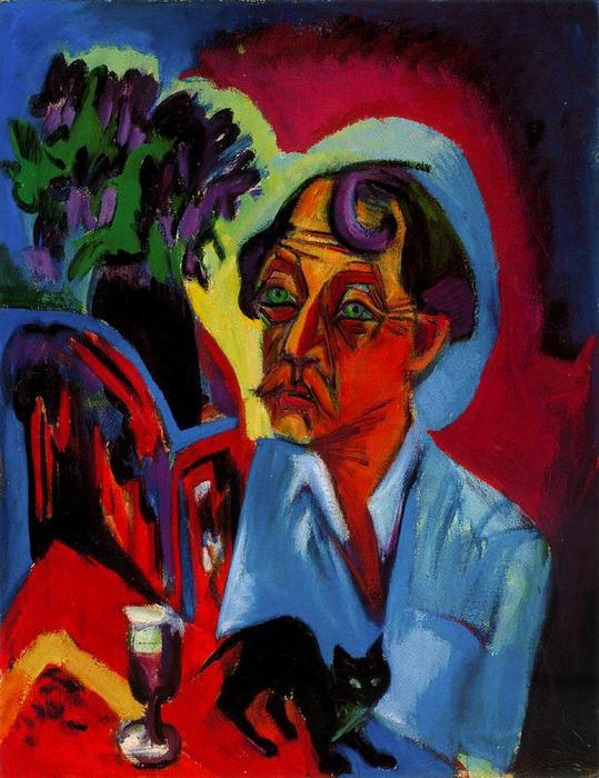 The painter Stirner with cat by Ernst Ludwig Kirchner (1880-1938, Germany)