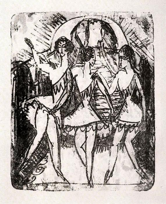 Three balley dancers by Ernst Ludwig Kirchner (1880-1938, Germany)