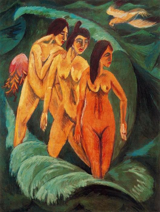 Three Bathers, 1913 by Ernst Ludwig Kirchner (1880-1938, Germany) | WahooArt.com
