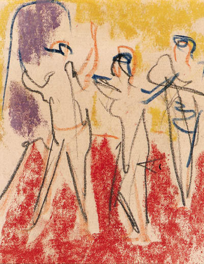 Three dancers by Ernst Ludwig Kirchner (1880-1938, Germany)