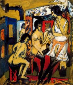 Ernst Ludwig Kirchner - Three Models (Nude in the studio)