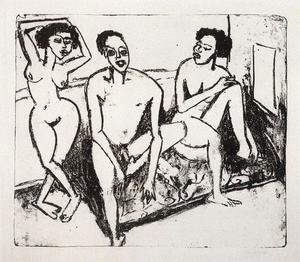 Ernst Ludwig Kirchner - Three naked niggers