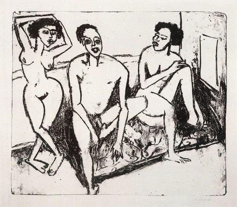 Three naked niggers by Ernst Ludwig Kirchner (1880-1938, Germany)