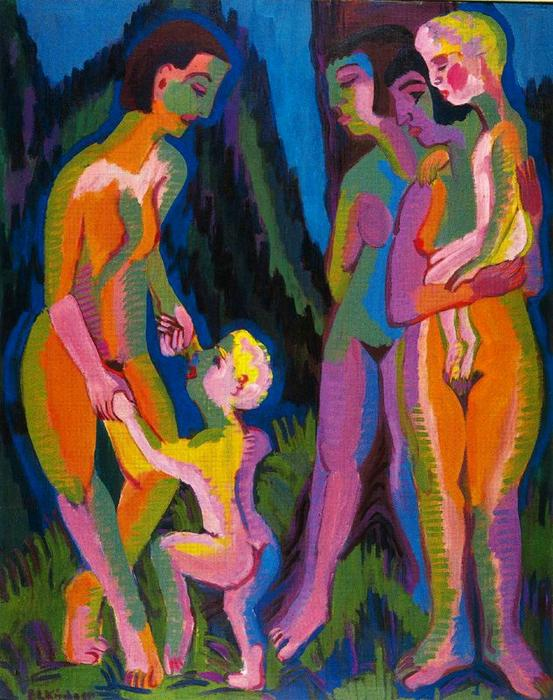 Three naked women with children by Ernst Ludwig Kirchner (1880-1938, Germany)