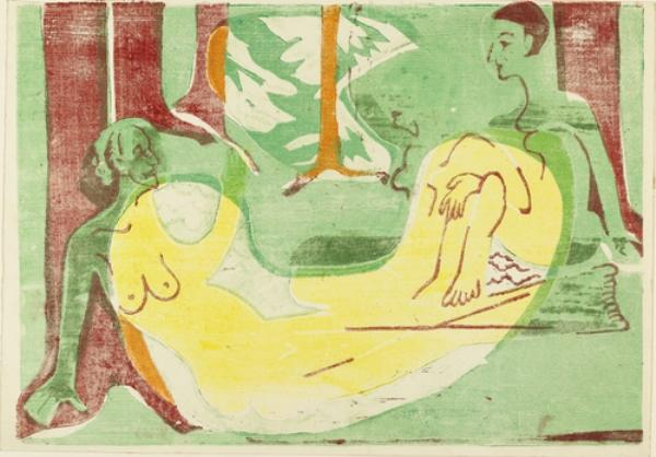 Three Nudes in the Forest, 1933 by Ernst Ludwig Kirchner (1880-1938, Germany) | WahooArt.com