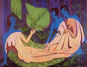 Ernst Ludwig Kirchner - Three nudes in the forrest