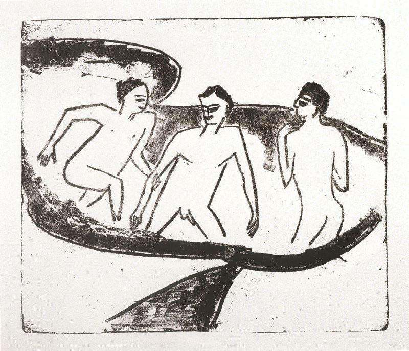Three nudes in the water by Ernst Ludwig Kirchner (1880-1938, Germany) | WahooArt.com