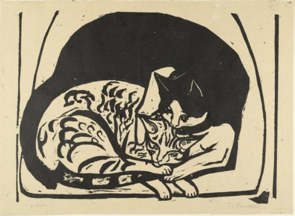 Two Cats by Ernst Ludwig Kirchner (1880-1938, Germany) | WahooArt.com